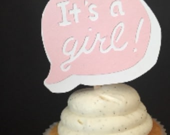 It's a Girl Cupcake Topper