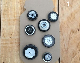 Tuxedo (Black and White) Mason Jar Button Thumbtacks