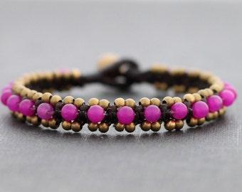 Shocking Pink Beaded Bangle Bracelet