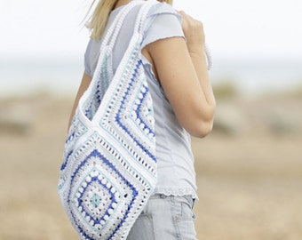 boho bag in granny square, cotton, handmade