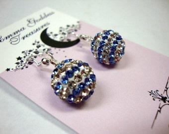 Blue Striped Crystal Earrings