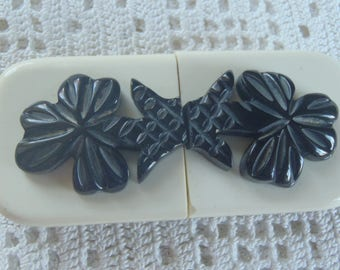Vintage Belt Buckle Black and  White Flower Design Plastic