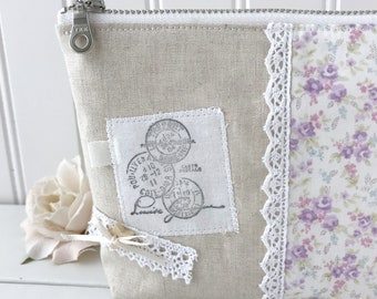 Shabby chic pouch, floral linen zipper pouch, french stamp, lace, wood button