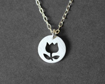 Handmade Silver Tulip Necklace - Sterling Silver Necklace - Silver Jewelry - PMC - Metal Clay