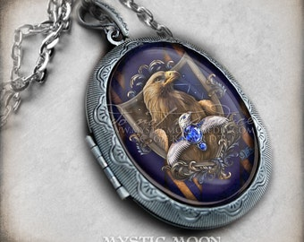 Raven Crest / Large Antique Locket Necklace / Potter Gift  / Jewelry / Nerd Gifts / Nerdy / Claw / Potter Necklace / Witch / Wizard