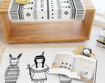 Cotton Linen Fabric Cloth -DIY Cloth Art Manual Cloth -Indian Girl  57x36 Inches