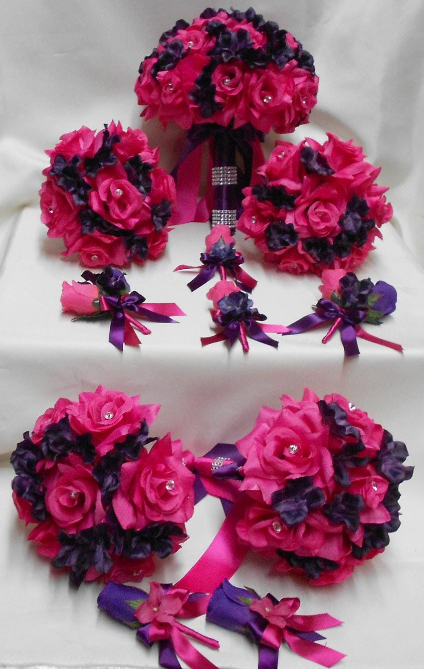 Wedding Silk Flower Bridal Bouquets Your Colors 18 Pcs Package