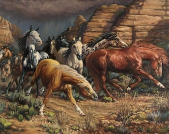 Thunder Run - 24x36 original sofa-sized oil painting, horses, mustangs, equine, by Kerry