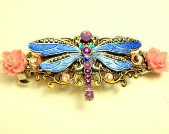 Lg.Sz, Dragonfly Crystal Barrette,Sexy Hair Jewelry,Wedding Bridesmaid,Fiigree Barrette,Vintage Cottage Chic,Blue Dragonfly,Elegamt Fashion