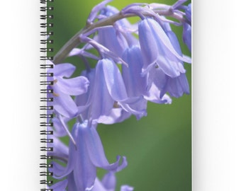 English Bluebells Spiral Notebook ~ Garden Journal  ~  Floral Notebook ~ Green Journal ~ Purple Flower Notepad ~ Gift for Her ~ Girl's Diary