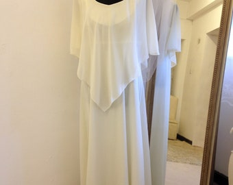 Boho wedding dress, vintage wedding dress, 1970s wedding dress, bohemian, informal, Cape, illusion cape, cream, Ivory, Festival, UK 10/12/14