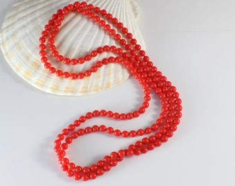 1960s Long Small Round Smooth Popper Beads Red Beaded Plastic Bead Necklace