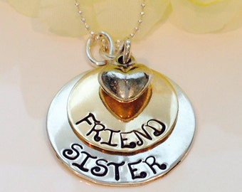 Hand Stamped Custom Sister Friend Necklace-Best Friends Necklace-Sister Best Friend Necklace-