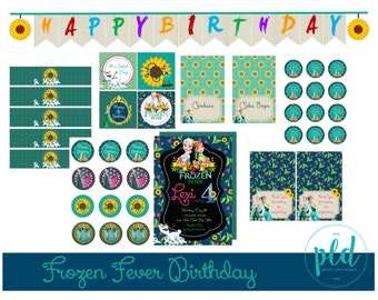 Frozen Fever Birthday Party Printable Package, Frozen Fever Birthday, Frozen Fever Invitation, Frozen Fever