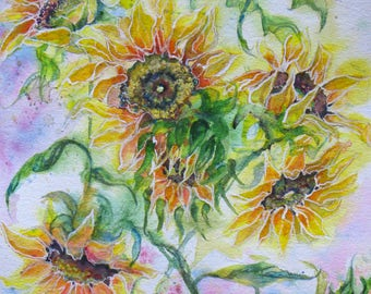 Original Abstract Sunflower watercolor painting, flower art, garden sunflower art by janice trane jones, large abstract flower art, floral