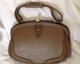 Vintage Jaclyn taupe and black  top handle kelly handbag