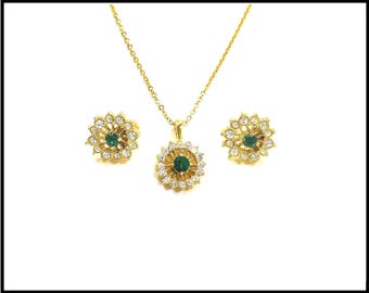 Emerald Green & Clear CZ Necklace Earrings Set, Pierced, Gold Filigree, March Birthstone, Bridesmaid Set, Cubic Zirconia, Gift for Her