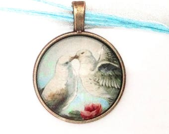 Doves love and roses, vintage photo, sky blue organza cord, cabochon pendant