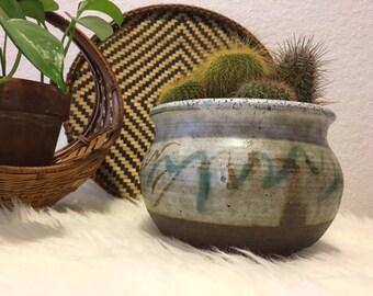 Vintage Handmade Stoneware Planter