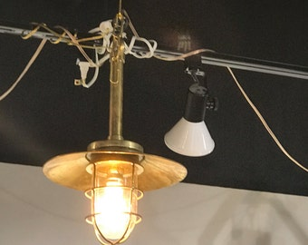 Vintage Brass Hanging Bulkhead Light with Brass Shade - Refurbished, Rewired and Ready for use - Ship Salvaged
