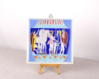 Greek Ceramic Tile, Ceramic Wall Hanging, Greek Art, Trivet Ceramic Tile, Wall Hanging Tile, Ceramic Wall Art, Stiker Tile, Hanging Tile