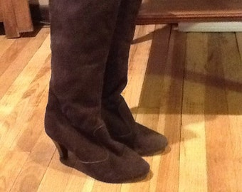 Brown Leather High top  High heel Boots