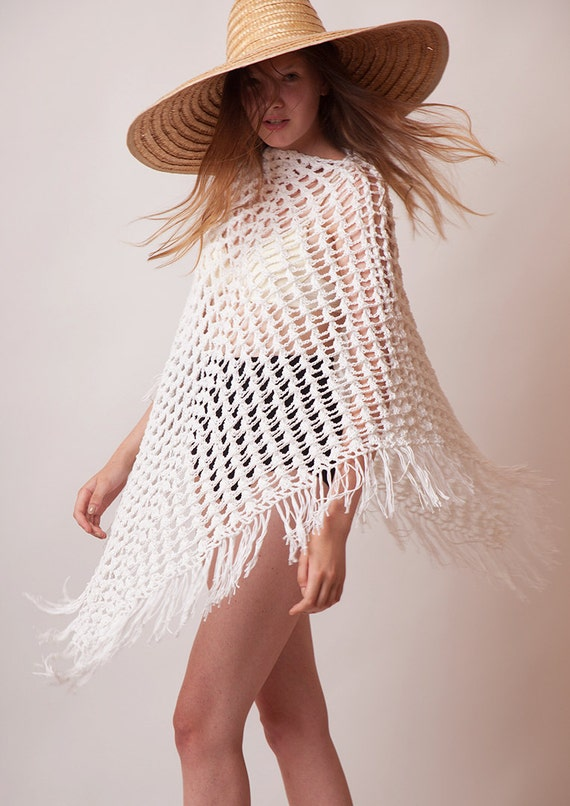 White tunic, poncho with fringes, hand crochet cotton summer boho beach cover up, bohemian clothing, trendy hippie style knit, one size plus