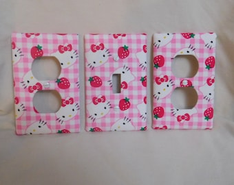 Light Switch Plate Outlet Plug Cover Custom Hello Kitty Childrens Protective Plug Inserts Kids Cable Rocker Bedroom Wall Plate
