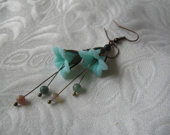 Copper flower earrings soft blue