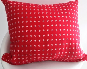 Cushion cover 45 x 40 cm red patterns white anchors