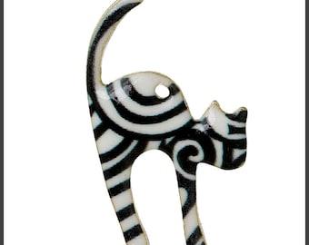 Black and White Cat Charm