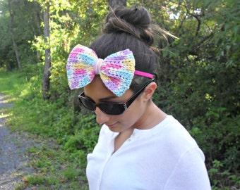 big bow headband|  bow tie headband|  crochet bow headband|  statement headband