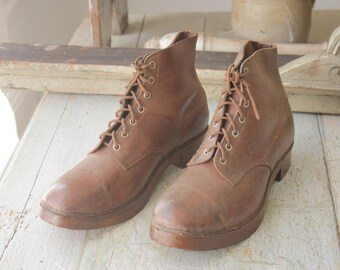 Antique French Brown Boots Work Shoes Leather Wooden Sole Beautiful Pair primitive laced old