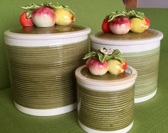 Vintage 70s Ceramic Fruit Canister Set in Avocado Green 6 Piece Set Made in Japan/3 Canisters with Fruit Lids