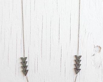 chevron arrow necklace for slate fashion in geometric metallic gray on a silver chain