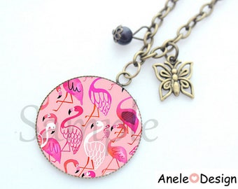 Necklace Flamingo Pink TROPICAL exotic flower liberty rose gray white