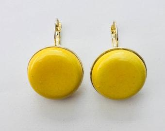 Yellow ceramic earrings