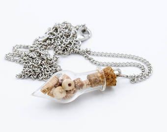 Crinoid Fossil Terrarium Necklace