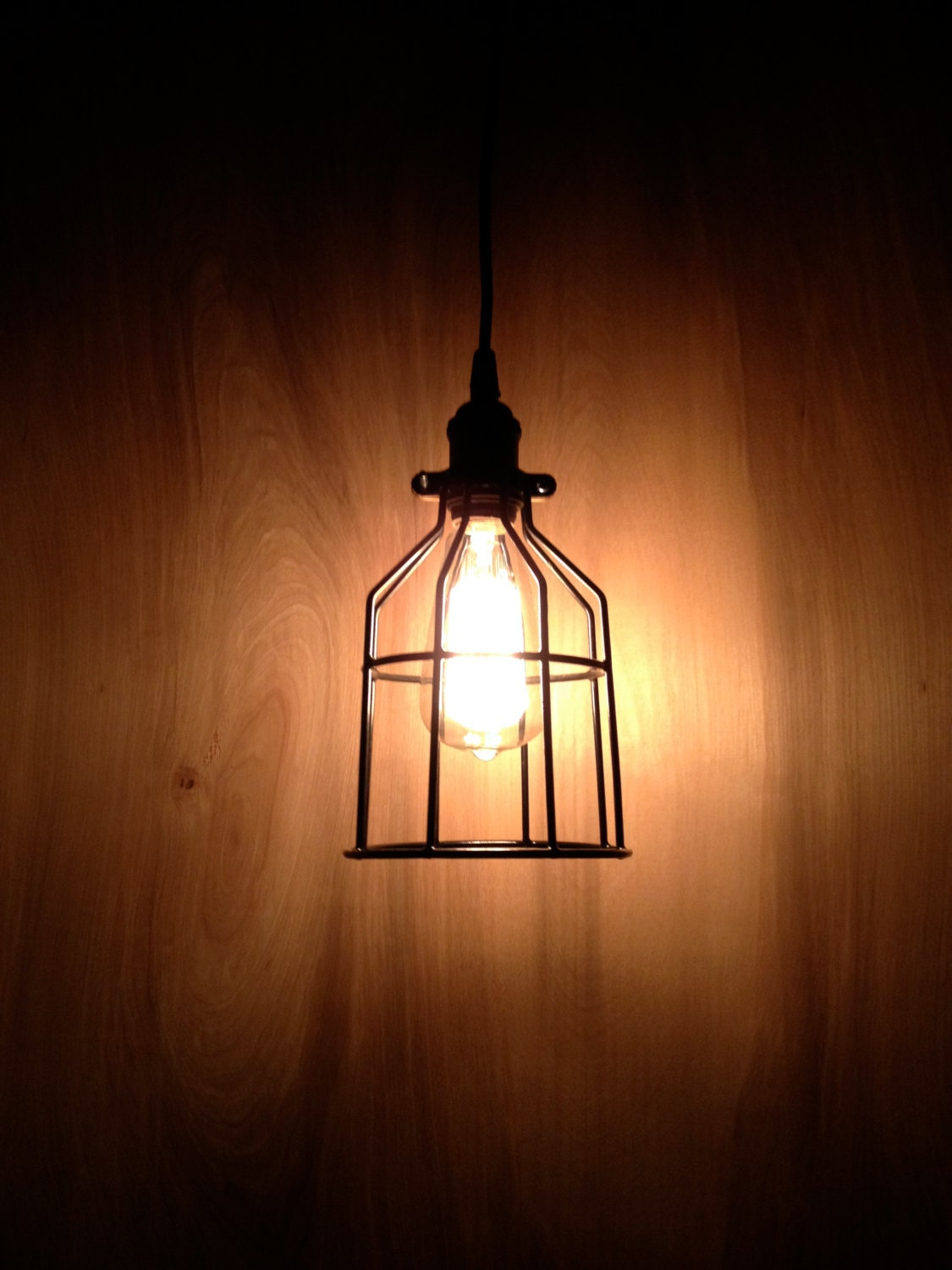 Industrial Pendant Light Black Metal Cage Modern Pendant