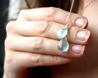 Green Fluorite Pendant Necklace . Crystal Healing Necklace . Crystals for Meditation Jewelry Sterling Silver Gemstone - Chakra Collection
