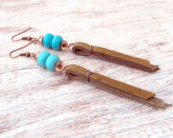 Long Leather Tassel Earrings - Boho Leather Fringe Earrings - Long Leather Earrings - Boho Leather Earrings, Boho Gift - Girlfriend Gift