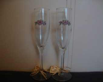 Groom And Bride Wedding Champagne Glasses