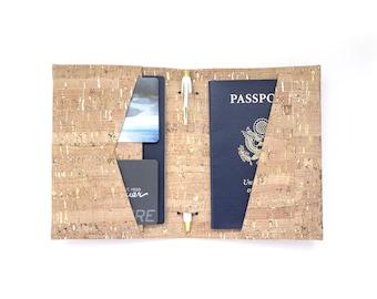 Vegan Cork Passport Wallet with Pen Holder, Gold Fleck on Natural