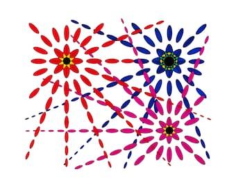 "Artistic Insanity - Cheerful, bright 15.5"" x 12.5"", fireworks print"