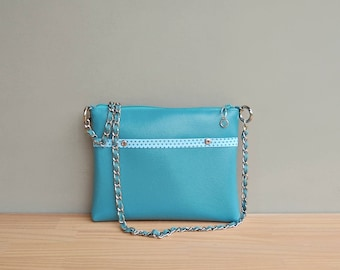 Aqua Summer Purse, Blue Green Vegan Crossbody Bag with Polka Dot Lining, Faux Leather Shoulder Bag with Custom Silver Chain Strap, Vinyl Bag