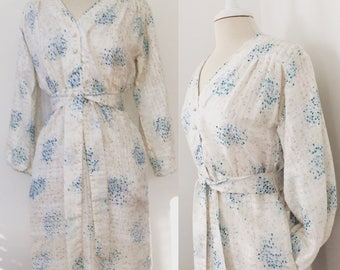 Floral Hand Screen Printed Vintage 1970's/80's Cotton blend dress w/ pockets and belt