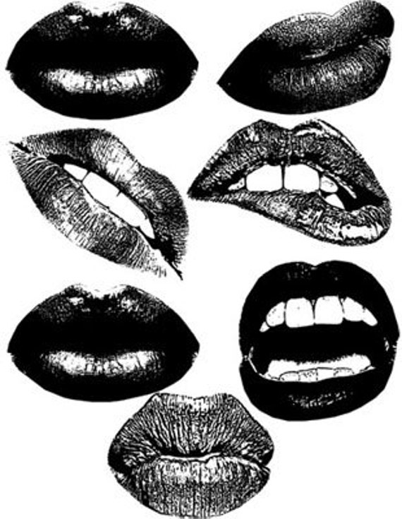 lips and black lipstick printable makeup art collage clipart downloadable digital download art image graphics beauty cosmetics prints
