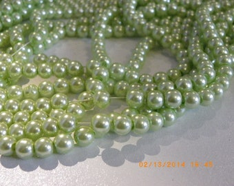 150 6 mm Pearl with a beautiful water Green Pearl glass beads
