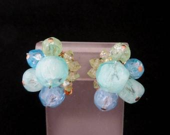 Hattie Carnegie Jewelry, Vintage Green Bead Earrings, Lucite Beaded Clip on Earrings, Pastel Cluster Earrings