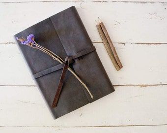 Personalized Leather Sketchbook - Rustic Leather Sketchbook